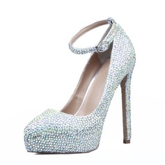 Women's Real Leather Stiletto Heel Closed Toe Pumps With Rhinestone