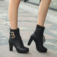 Women's Leatherette Chunky Heel Mid-Calf Boots With Buckle Braided Strap shoes