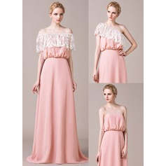 A-Line/Princess Sweep Train Chiffon Lace Bridesmaid Dress With Ruffle