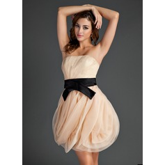 A-Line/Princess Strapless Short/Mini Organza Homecoming Dress With Ruffle Sash