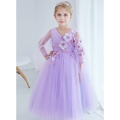 A-Line/Princess Ankle-length Flower Girl Dress - Organza/Satin/Tulle Long Sleeves V-neck With Flower(s)