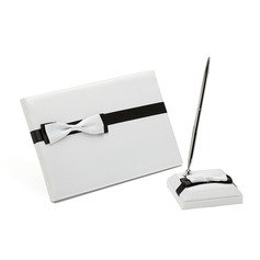 Simple Satin Bow Guestbook/Pen Set