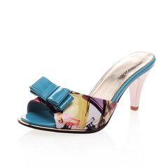 Leatherette Cone Heel Sandals Pumps Peep Toe With Bowknot shoes