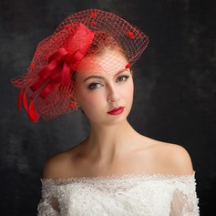 Ladies' Classic Feather/Net Yarn/Lace/Tulle/Linen With Feather Fascinators