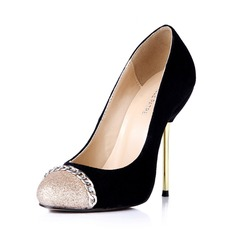 Suede Stiletto Heel Pumps Closed Toe With Sparkling Glitter shoes