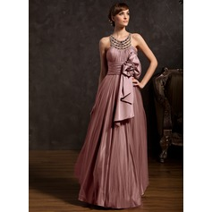A-Line/Princess Scoop Neck Floor-Length Tulle Holiday Dress With Ruffle Beading (020025843)