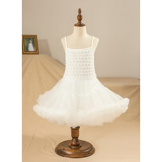 Ball Gown Knee-length Flower Girl Dress - Satin/Tulle Sleeveless Straps With Lace/Flower(s)