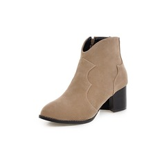 Women's Real Leather Chunky Heel Martin Boots shoes