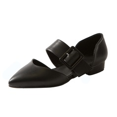 Women's Leatherette Flat Heel Flats Closed Toe shoes (086090827)