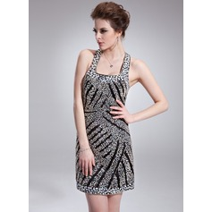 Sheath/Column Square Neckline Short/Mini Charmeuse Cocktail Dress With Beading Sequins