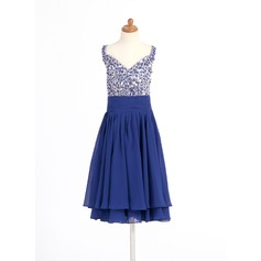 A-Line/Princess Knee-length Flower Girl Dress - Chiffon Sleeveless Sweetheart With Beading/Sequins