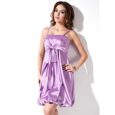 Empire Short/Mini Charmeuse Homecoming Dress With Ruffle Bow(s)