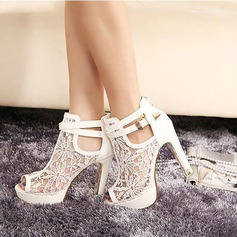 Women's Lace Leatherette Stiletto Heel Boots Peep Toe Platform Pumps With Buckle Zipper