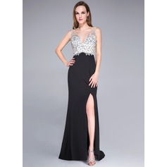 Trumpet/Mermaid V-neck Sweep Train Tulle Jersey Prom Dress With Beading Sequins Split Front