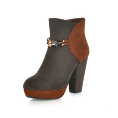 Leatherette Chunky Heel Platform Ankle Boots With Zipper shoes