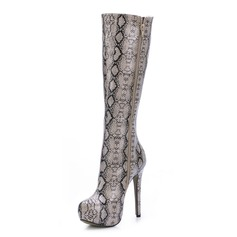 Patent Leather Stiletto Heel Knee High Boots With Animal Print shoes