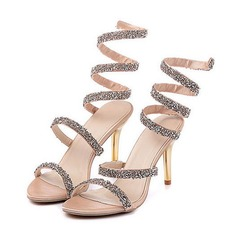 Women's Sparkling Glitter Stiletto Heel Sandals With Sequin Sparkling Glitter
