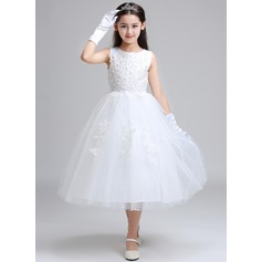 A-Line/Princess Tea-length Flower Girl Dress - Lace/Polyester Sleeveless Scoop Neck With Beading/Appliques