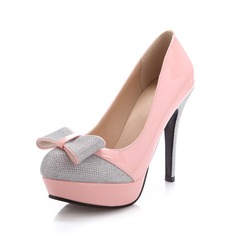 Patent Leather Sparkling Glitter Stiletto Heel Pumps Platform Closed Toe With Bowknot shoes