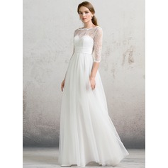 A-Line/Princess Off-the-Shoulder Floor-Length Tulle Wedding Dress With Bow(s)
