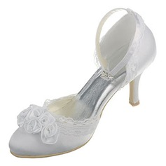 Women's Silk Like Satin Stiletto Heel Closed Toe Pumps With Satin Flower Braided Strap