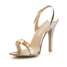 Patent Leather Stiletto Heel Sandals Slingbacks With Rhinestone shoes