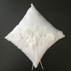 Beautiful Ring Pillow in Satin/Lace With Ribbons/Faux Pearl/Flowers