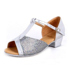 Women's Kids' Leatherette Sparkling Glitter Heels Sandals Latin Ballroom With T-Strap Dance Shoes