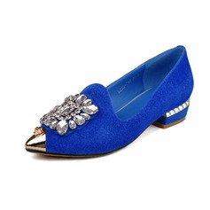 Real Leather Flat Heel Flats Closed Toe With Rhinestone Rivet shoes