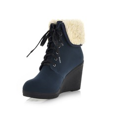 Leatherette Wedge Heel Platform Ankle Boots Snow Boots shoes