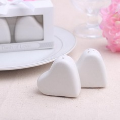 Heart Shaped Ceramic Salt & Pepper Shakers (Set of 2 pieces)