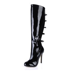 Patent Leather Stiletto Heel Knee High Boots shoes