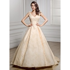Ball-Gown V-neck Chapel Train Lace Wedding Dress With Bow(s)