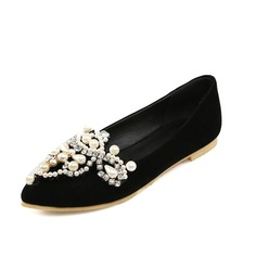 Women's Suede Flat Heel Flats Closed Toe With Rhinestone Imitation Pearl shoes