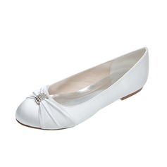 Women's Satin Flat Heel Closed Toe Flats With Bowknot Rhinestone