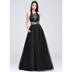 A-Line/Princess Halter Floor-Length Tulle Prom Dress With Lace