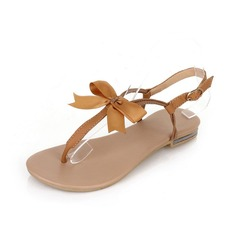 Leatherette Flat Heel Sandals Flats With Bowknot shoes