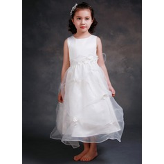 A-Line/Princess Ankle-length Flower Girl Dress - Tribute silk/CVC Sleeveless Scoop Neck With Appliques