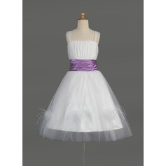 A-Line/Princess Knee-length Flower Girl Dress - Tulle/Charmeuse Sleeveless Square Neckline With Ruffles/Sash/Feather