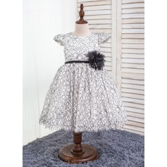 Ball Gown Knee-length Flower Girl Dress - Polyester/Chinlon Short Sleeves Scoop Neck With Flower(s)/Bow(s)