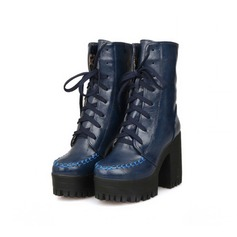 Women's Patent Leather Chunky Heel Platform Mid-Calf Boots With Braided Strap shoes