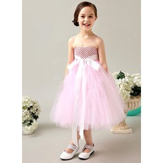 Empire Tea-length Flower Girl Dress - Tulle Sleeveless Strapless With Bow(s)