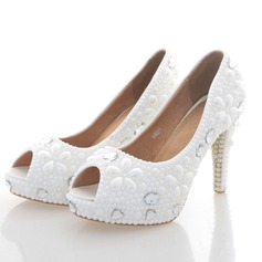 Women's Real Leather Stiletto Heel Peep Toe Platform Pumps With Imitation Pearl
