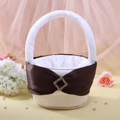 Flower Basket White With Rhinestones Ribbons (102026349)