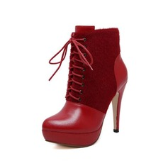 Women's Leatherette Stiletto Heel Ankle Boots Martin Boots With Braided Strap Split Joint shoes
