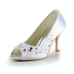 Women's Satin Stiletto Heel Peep Toe Sandals With Beading Rhinestone