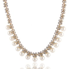 Gorgeous Alloy/Rhinestones With Pearl Ladies' Necklaces