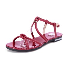 Real Leather Flat Heel Slingbacks Sandals Flats With Buckle (087024973)