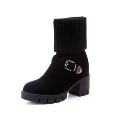 Suede Low Heel Knee High Boots With Buckle shoes