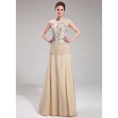 A-Line/Princess Scoop Neck Floor-Length Chiffon Tulle Evening Dress With Appliques Lace